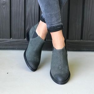 Gray Genuine Leather Burnished Toe Ankle Boots